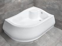 Radaway Korfu E aszimmetrikus íves zuhanytálca + szifon