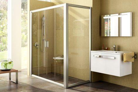 Ravak Rapier NRDP4 négyrészes, csúsztatható zuhanyajtók + RPS fix oldalfalak